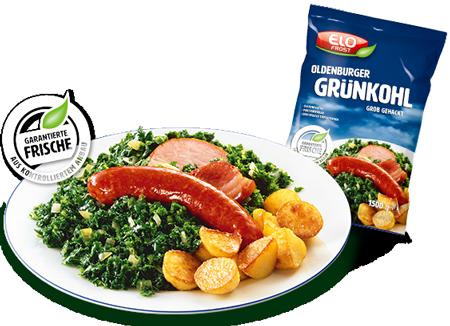 Teller mit Grünkohl, Kartoffeln, Fleisch
